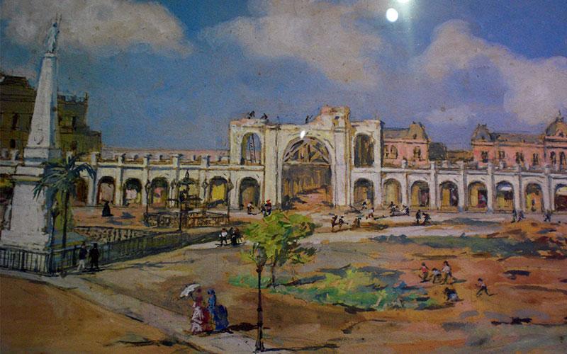 Plaza de Mayo recoba, dibuix del museu Saavedra