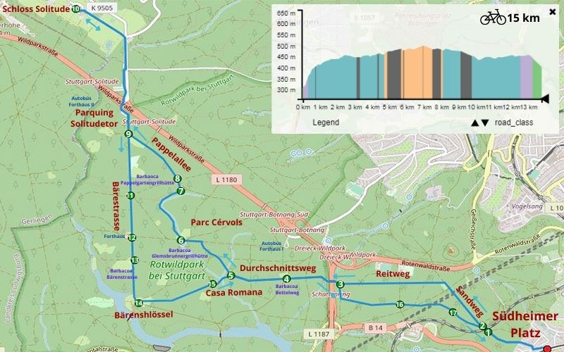 ruta natura Stuttgart bicicleta Solitude Palace
